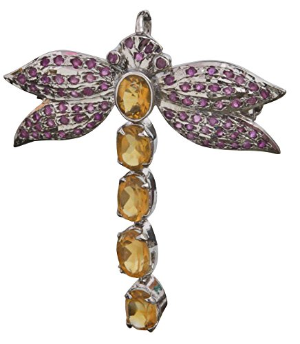 Butterfly Gemstone Brooch Cum Pendant with Ruby - Sterling-Silver - Color (Citrine Garnet Brooch)