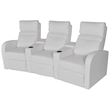 WEILANDEAL Sillon reclinable con 3 plazas de Cuero ...