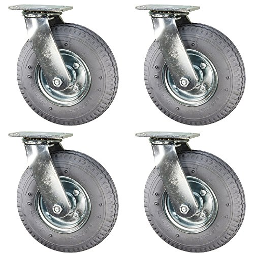 Service Caster - 8'' Gray Pneumatic Rubber Wheel - 4 Swivel Casters - Set of 4 by Service Caster