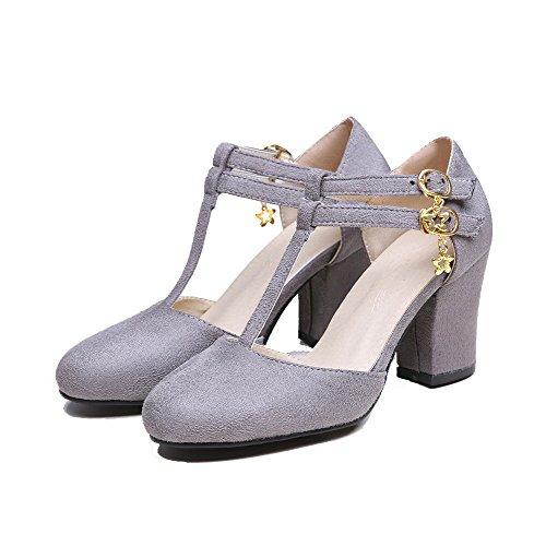 Allhqfashion Femmes Imitation Daim Talons Hauts À Bout Rond Pompes-chaussures Gris