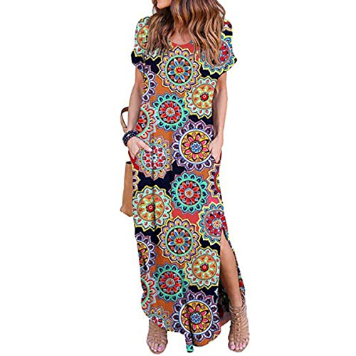 - IMBOAZ Women's Casual Loose Long Dress Short Sleeve Floral Print Maxi Dresses with Pockets