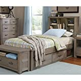 NE Kids Highlands Twin Bookcase Storage Bed in Driftwood
