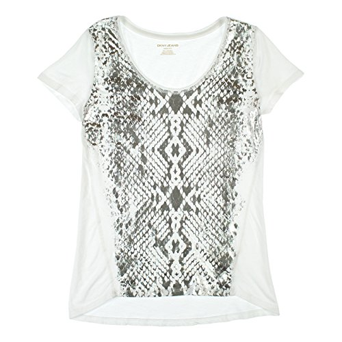 DKNY Jeans Womens Short Sleeve Scoop Neck Tee XXL Silver & White ()