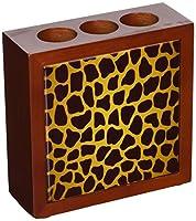 Rikki Knight 5-Inch Giraffe Design on Brown Wooden Tile Pen Holder (RK-PH352) (RK-PH352)
