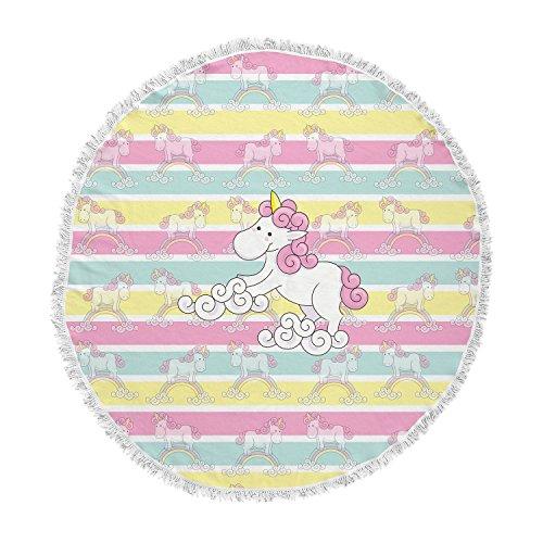 KESS InHouse Shirlei Patricia Muniz Unicornio Multicolor Illustration Animal Print Round Beach Towel Blanket by Kess InHouse