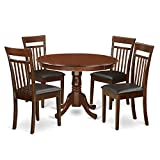 East West Furniture HLCA5-MAH-LC 5Piece Hartland Set One Round 42in Table & Four Dinette Chairs Faux Leather Seat in a Beautiful Mahogany Finish Review