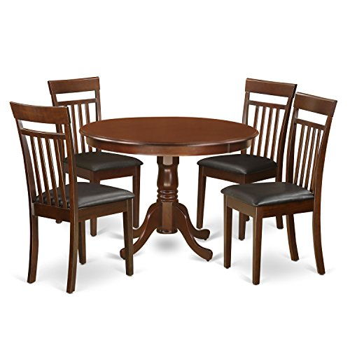 East West Furniture HLCA5-MAH-LC 5Piece Hartland Set with One Round 42in Table & Four Dinette Chairs with Faux Leather Seat in a Beautiful Mahogany Finish