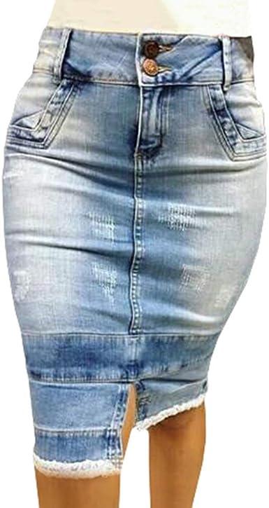 Yying Mujer Lápiz Falda Vaquera Cintura Alta Sexy Push Up Falda ...