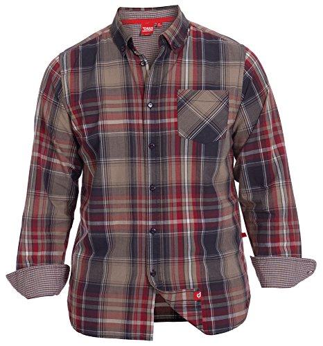 Duke Men', Kingsize, Stone s Check Shirt Long Sleeve