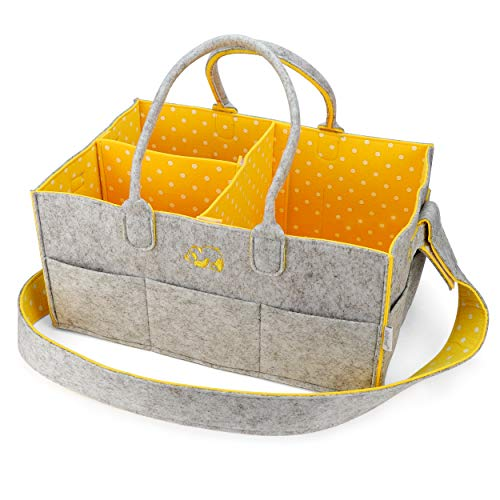 """Baby Diaper Caddy Nursery Organizer - Portable Changing Table Organizer and Diaper Stacker - Cute Gift for Registry for Baby Shower (15"""" x 10"""" x 7"""") (Yellow)"""