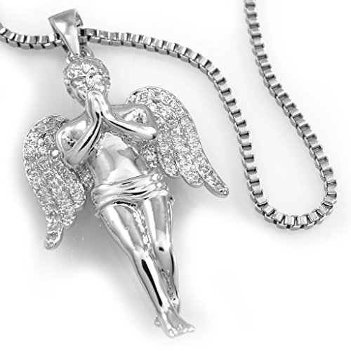 (18k Praying ANGEL Pendant Piece with BOX chain, (Silver))