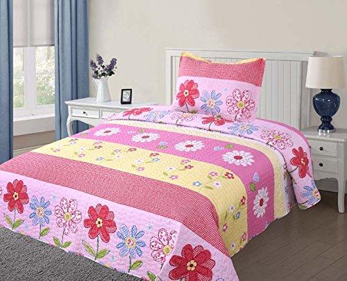 Golden Linens Twin Size(1 Quilt, 1 Sham) Pink Light Pink Yellow Floral Kids Teens/Girls Quilt Bedspread 06-16 Girls
