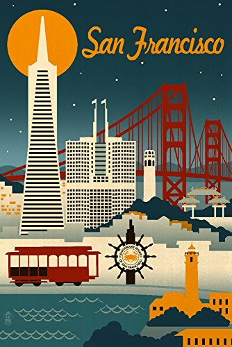 Print Art California (San Francisco, California - Retro Skyline (9x12 Art Print, Wall Decor Travel Poster))