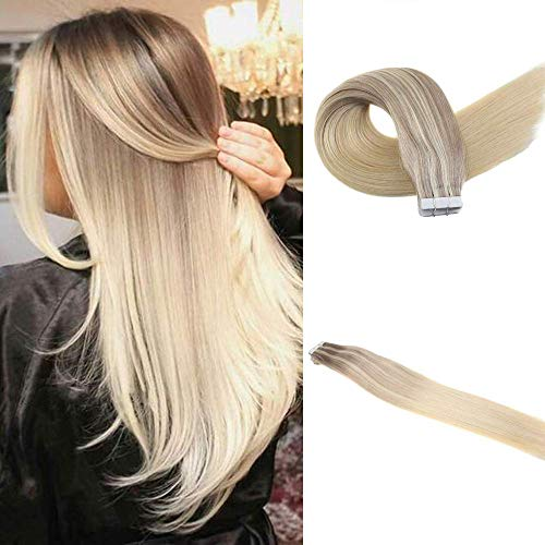 Easyouth Blonde Balayage Tape In Extensions 14Inch 25g 10Pcs/set Ash Blonde Fading To Medium Auburn Brown Highlight With Blonde Color Human Hair Glue In 100% Human Tape In Hair Extensions (Brown Hair With Blonde And Auburn Highlights)
