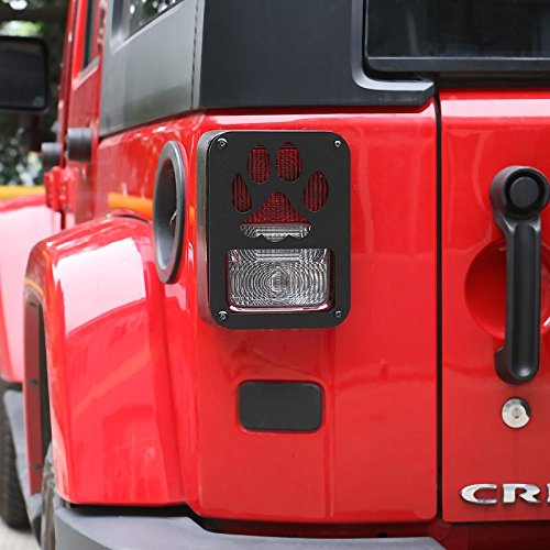 Pair Aluminum Paw Print Tail Light Guard Cover Rear Lamp Cover Trim for Jeep Wrangle (Black) Contour Tail Light Covers