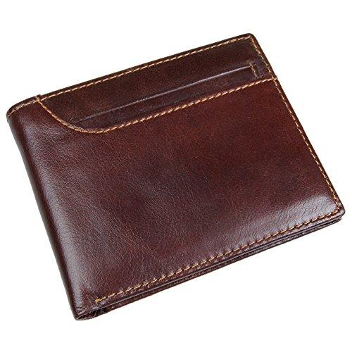 Horiya Men's RFID Blocking Vintage Italian Genuine Leather Slim Bifold Wallets For Men Handmade( Brown)