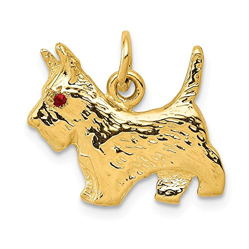 (14K Yellow Gold Scottie Dog Charm )