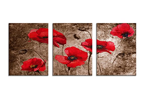 YPY Poppy Canvas Wall Art Painting Vintage Abstract Brown Background Red Flowers Giclee Canvas Print for Home Decor Bedroom Living Room ()