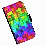 Hairyworm - Colourful squares Acer Liquid Z220 leather side flip wallet cell phone case, cover with card slots, money slot and magnetic clasp to close.