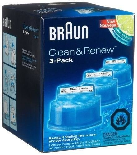 NEW Braun Series 3 5 7 CCR3 Shaver Clean & Renew Refills CONTAINS 3-Pack Men (Braun Shaver Clean And Renew)
