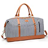 Canvas Weekender Travel Tote Duffel Bag Overnight Carry On Shoulder with PU Strap, PU Leather Trim Bag Oversized for Women and Ladies-Blue Stripe