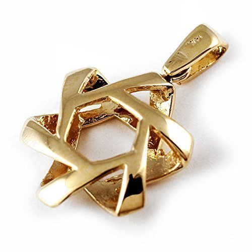 Star of David Pendant 3-D Pillowed Design in 14k Gold by Baltinester Jewish Jewelry