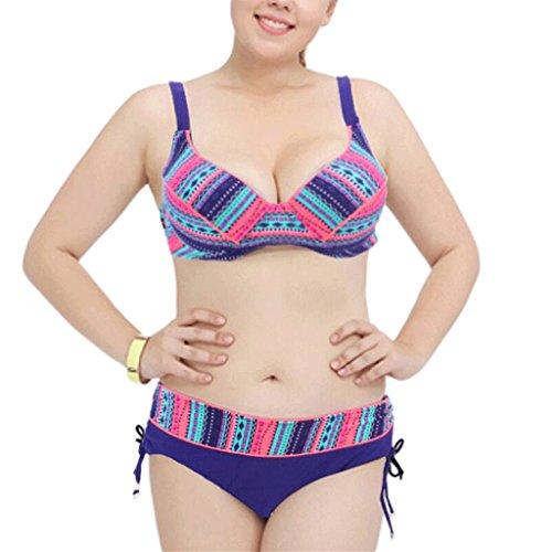 Traje de baño de las señoras Spa Swimsuit Correas Big Size Bikini Split Bikini Azul