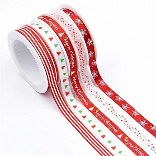 Jizzr 5 Rolls 27 Yards Total Assorted Christmas Ribbons for DIY Craft Wedding Party Decoration Baby Shower Holiday Box Gift Wrapping