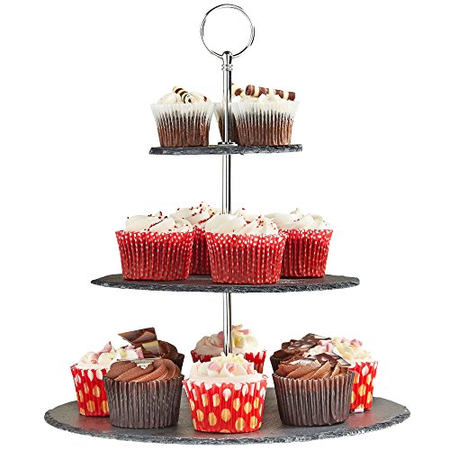 VonShef 3 Tier Natural Slate Serving/Cake Stand with Silver Carry Handle - Great For Use At Parties To Hold Cupcakes, Cakes, Cookies, Tapas or Cheese - Perfect For Displaying Halloween -
