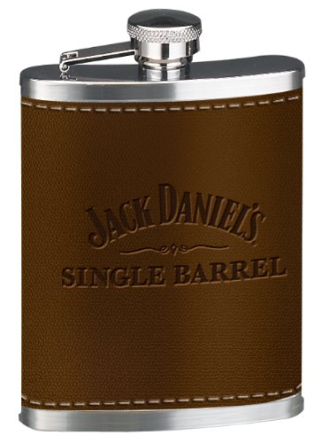 Jack Daniels Whiskey Barrels - Jack Daniel's Licensed Barware Single Barrel Leather Flask