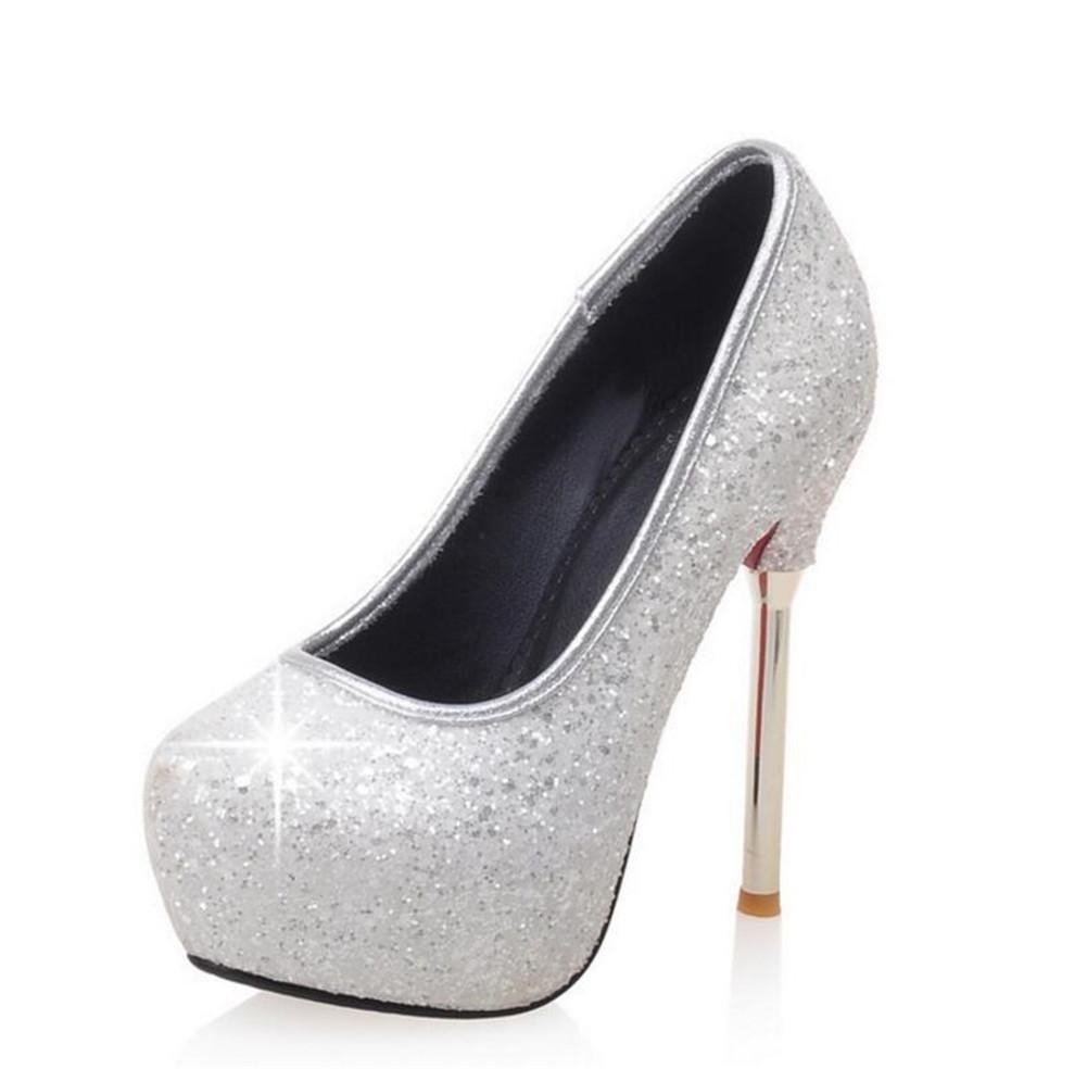Damenschuhe Party Club Stöckelabsatz Plateau Pumps Pailletten Glitter Größe 35 bis 40