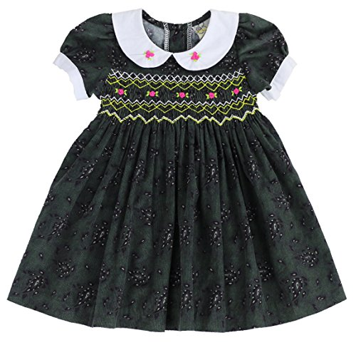 sissymini - Paisley Corduroy Hand Smocked & Embroidered Dress- Dark Charcoal 4T