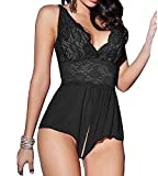 Evenloves Sexy Lace See Through Teddy Lingerie Open Crotch Nightwear Babydoll