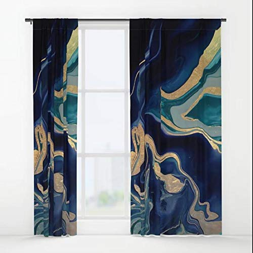 (XicoLtd DRAMAQUEEN - Gold Indigo Marble Window Curtains Window Drapes Blackout Curtains Panels for Bedroom,Home,Set of 2,84x55 inch)