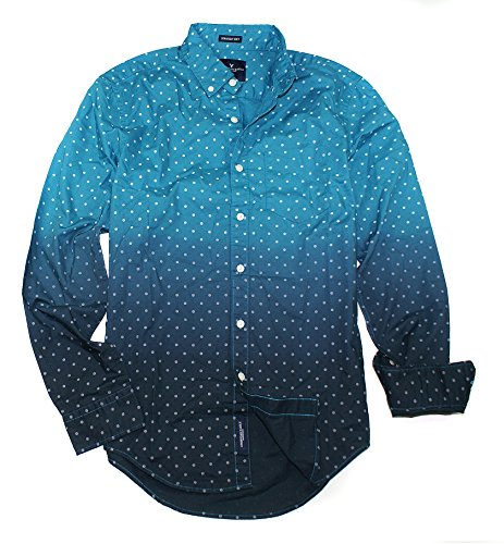 American Eagle Men's Seriously Soft Button Down Print Shirt (Medium, Teal Flower 395)