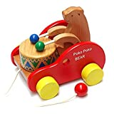 MAX HERO Bear Knock the Drum Wooden Push and Pull Toys for Toddlers Kids