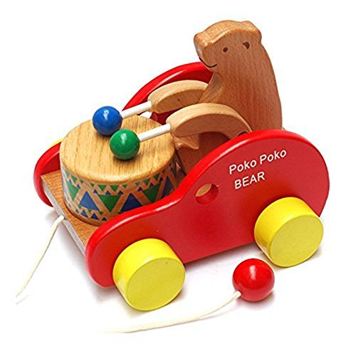 Push And Pull Toys : Max hero bear knock the drum wooden push and pull toys for