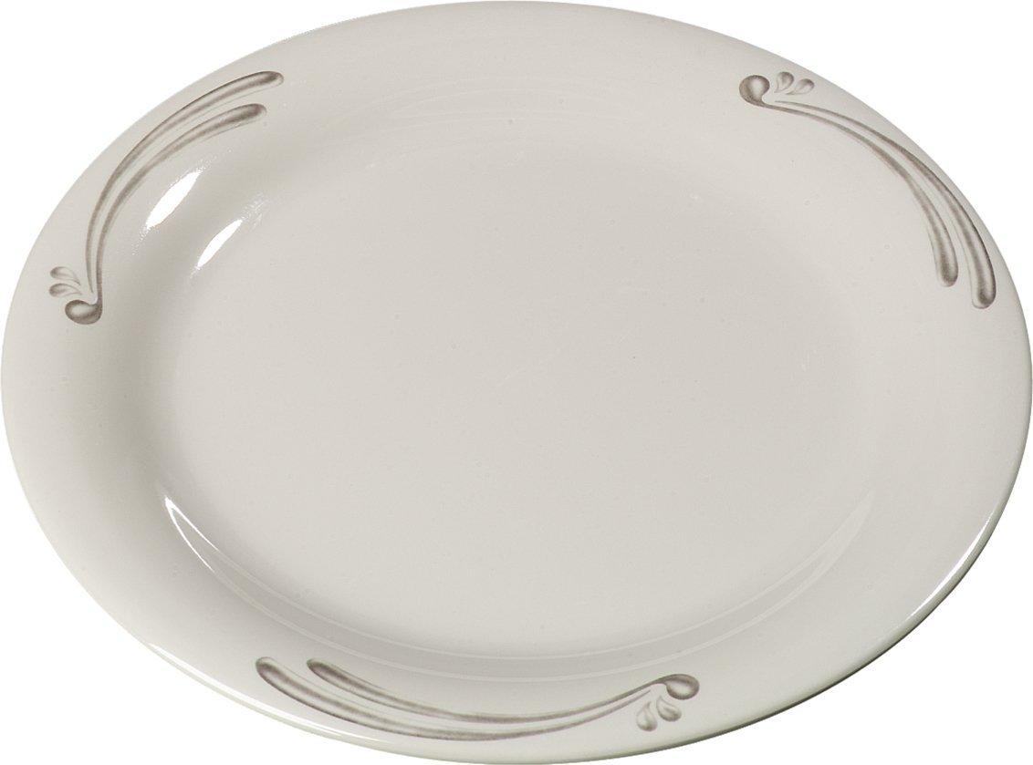 Carlisle 43009909 Durus Narrow Rim Melamine Pie Plate, 6.5'', Versailles on Bone (Pack of 48)