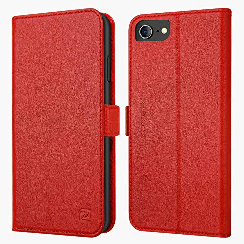 iPhone 8 case iPhone 7 case ZOVER Genuine Leather Case Flip Folio Book Case Wallet Cover with Kickstand Feature Card Slots & ID Holder and Magnetic Clasps for iPhone 7 -
