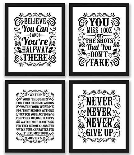 Motivational Inspirational Quotes Art Prints 4 Pack | Set of Four Photos 8x10 Unframed | Classroom Office Home Wall Art - Inspire Teen Boy Girl Fitness Success Workout Sports Gym Hard Work Decor