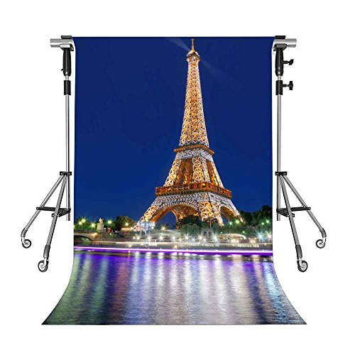 MEETS 5x7ft Eiffel Tower Backdrop Paris City Night Photography Background Themed Party Photo Booth YouTube Backdrop NANMT652]()
