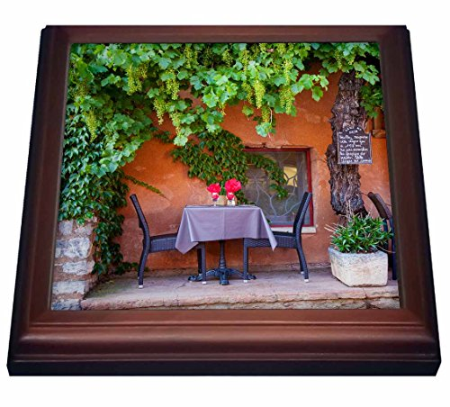 3dRose trv_207625_1 Outdoor cafe in Roussillon, Provence, France Trivet with Ceramic Tile, 8