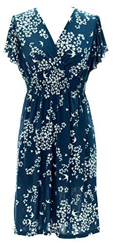 - Vibrant V-Neck Knee Length Dress - Assorted Styles Plus & Regular Sizes Floral & Birds Steel Blue m
