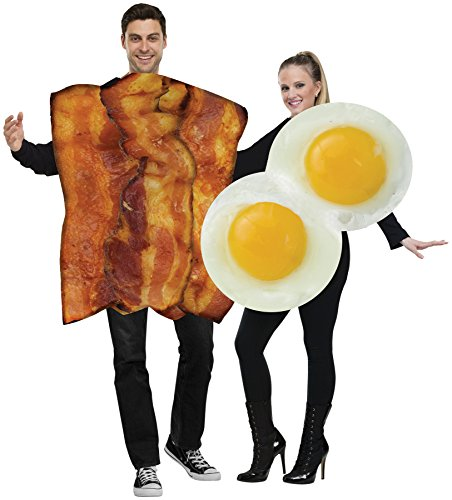 UHC Unisex Bacon And Fried Eggs Funny Comical Theme Party Adult Couple Costume, (Egg And Bacon Costume)