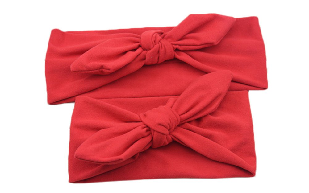 Westeng Bandeau Cheveux en Coton Bandeau Serre-tête Elasticité Décoré Impression Nœud Papillon pour Mère et Bébé 2pcs