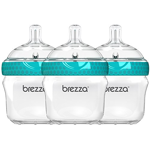 Baby Brezza Two Piece Natural Baby Bottle with Lid - Ergonomic, Wide Neck Design Makes it The Easiest to Clean - Modern Look - Anti-Colic - BPA Free Plastic - Blue - 5 Ounce Size - 3 Pack of Bottles