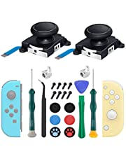 2-Pack Joycon Joystick Replacement Analog Thumb Sticks for Nintendo Switch, Joystick Replacement Parts Repair Kit for Joycon & Switch Lite, Include Metal Buckles, Screwdrivers, Thumb Grips Caps, Pry Tools, Tweezers
