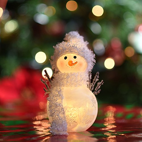 LED Light Up Snowman With White Scarf & Fluffy Hat