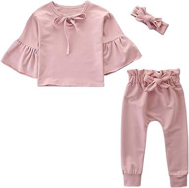 FELZ Conjunto de ropa/3pc de bebé niña, Otoño Camiseta de Manga Larga con Cuello Redondo en Color Liso + Pantalones + Diadema Ropa Bebe Niña Recién Nacido 1 a 6 Años: Amazon.es: