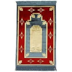 "Islamic Prayer Rug Muslim Islam Seccade Namaz Velvet Quality Fabric Sajadah 43""x27"""